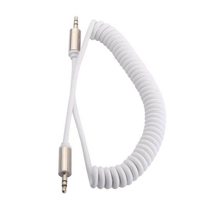 ESA White Male to Female Coiled Aux Audio Extension Cable [3.5 mm]