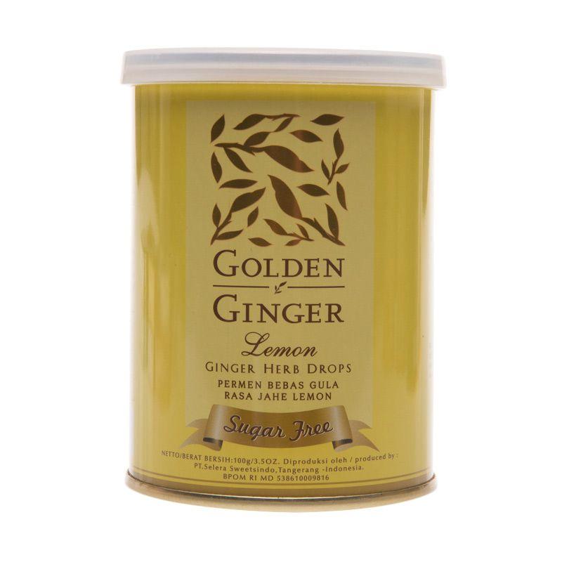 Golden Ginger Can Herb Drop Sugar Free Lemon Permen [100 gr]