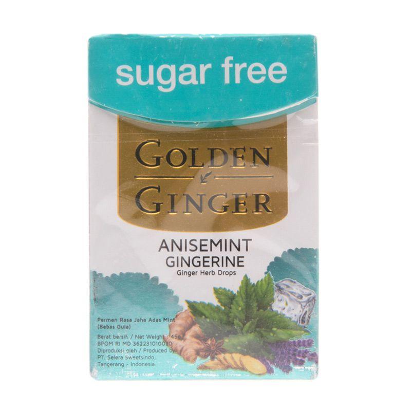 Golden Ginger Sugar Free Anisemint Gingerine Permen [45 gr]