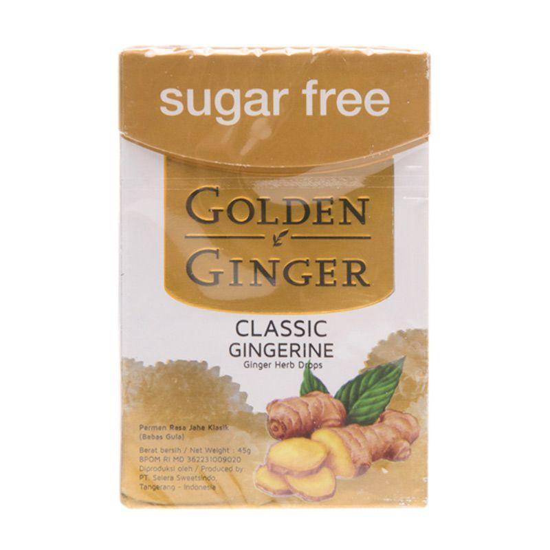 Golden Ginger Sugar Free Classic Gingerine Permen [45 gr]