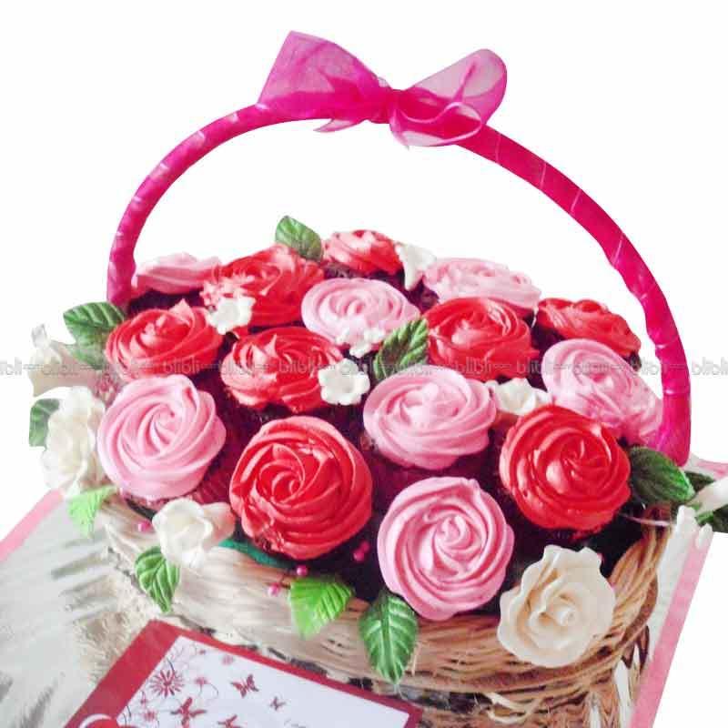 Glow Cake Art Cupcake Keranjang Bunga 16 pcs