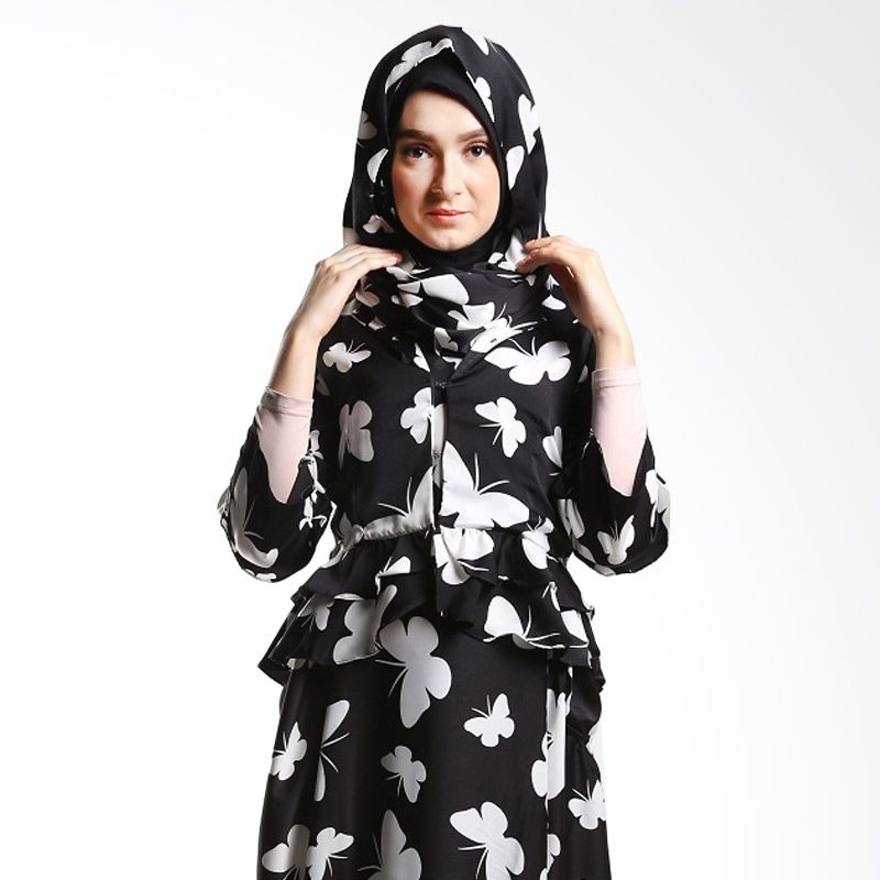 Goldee Cloth Blazer Suit Butterfly Black Atasan Muslim