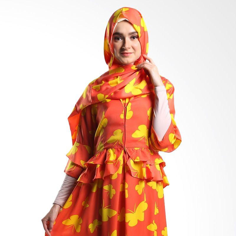 Goldee Cloth Blazer Suit Butterfly Orange Atasan Muslim Wanita
