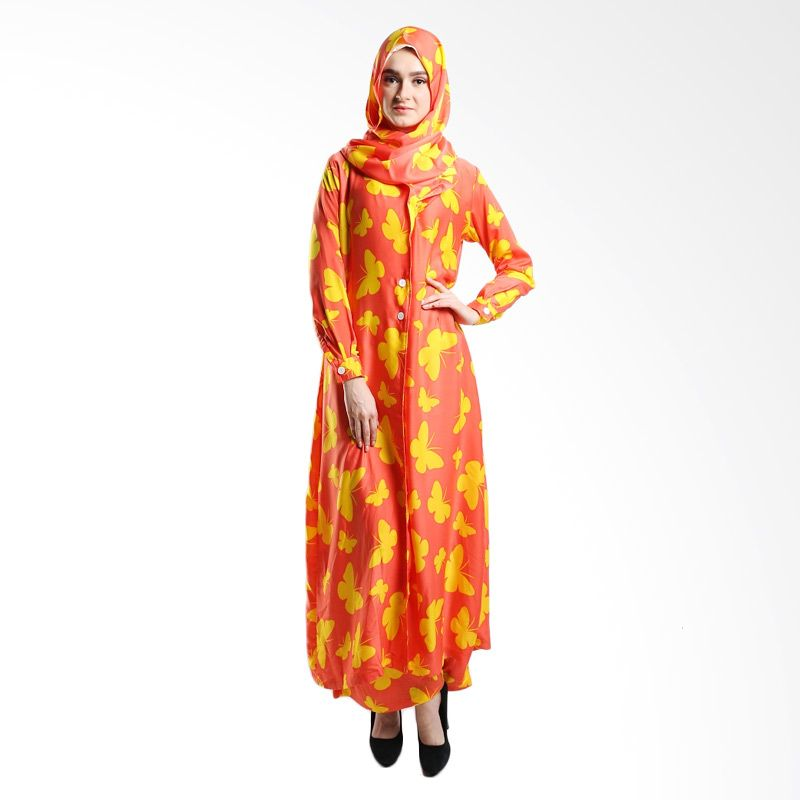 Goldee Cloth Butterfly Coat Orange Dress Muslim