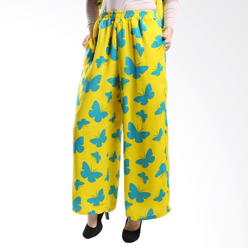 Goldee Cloth Butterfly Suit Pant Yellow Bawahan Muslim
