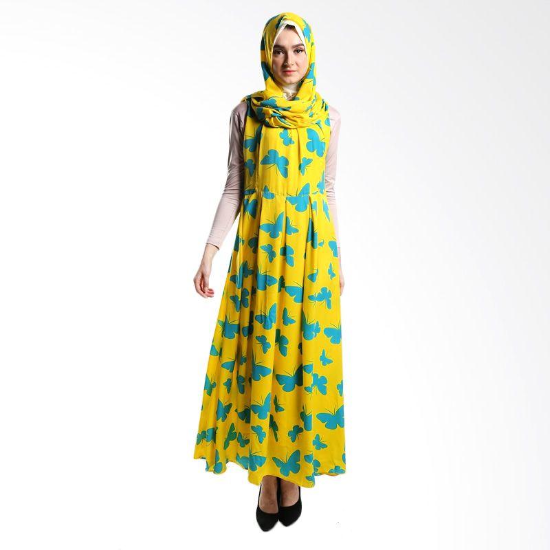 Goldee Cloth ID Butterfly Yellow Dress Muslim