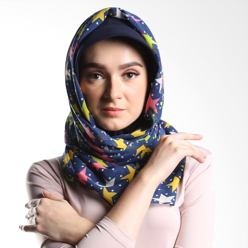 Goldee Cloth Stars Series Dark Blue Pashmina Hijab
