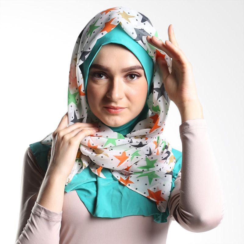 Goldee Cloth Stars Series White Pashmina Hijab