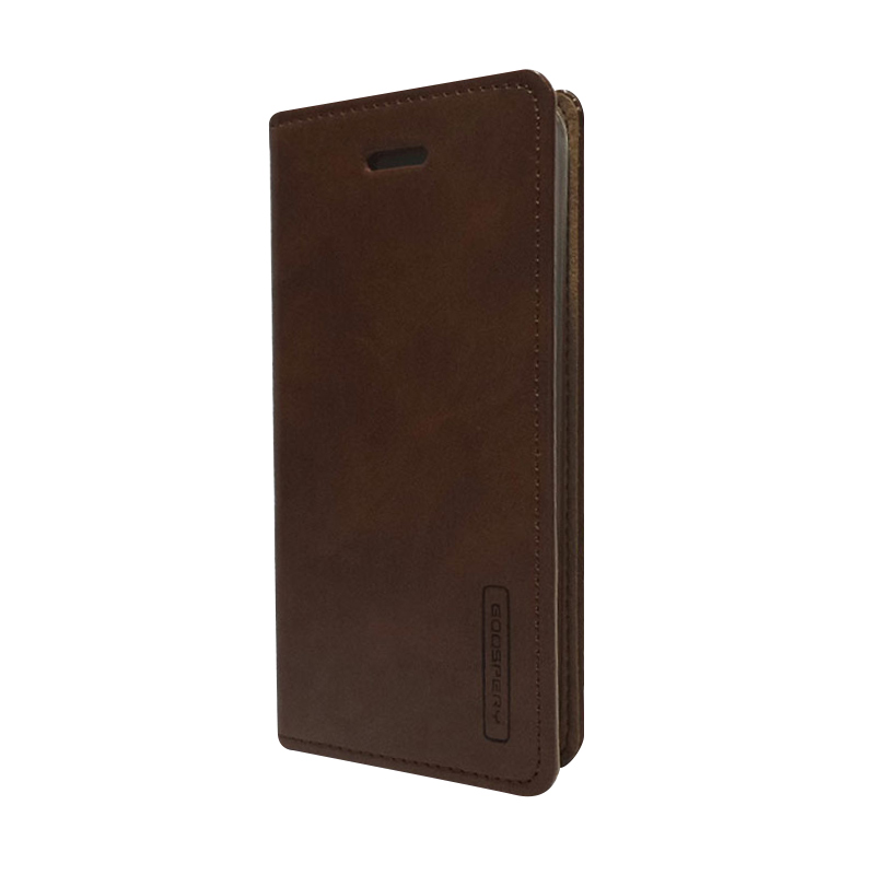 harga Leather Case  iPhone 5  -  Sarung Kulit Original Mercury Goospery Blue Moon Flip  -  Coklat Blibli.com
