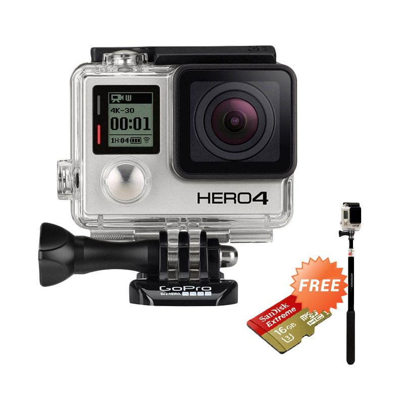 GoPro Hero 4 Black Action Camera + Tongsis Attanta Smp 07 + Sandisk Extreme