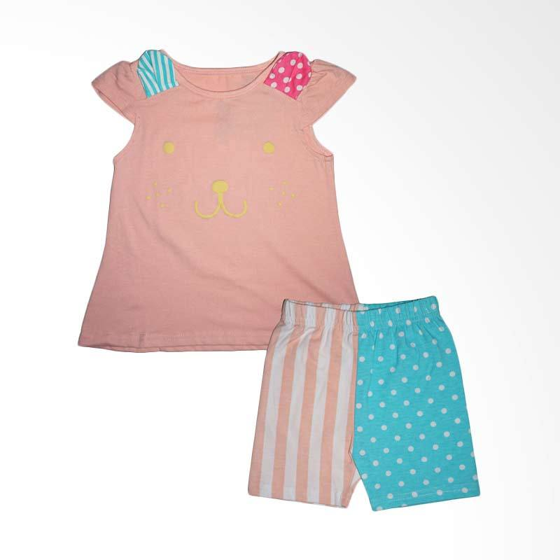 Gleoite Wardrobe Animal Face Merah Muda Set Baju Anak