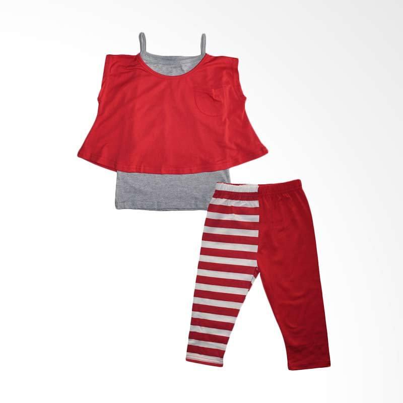 Gleoite Wardrobe Merah Abu Abu Setelan Anak Perempuan