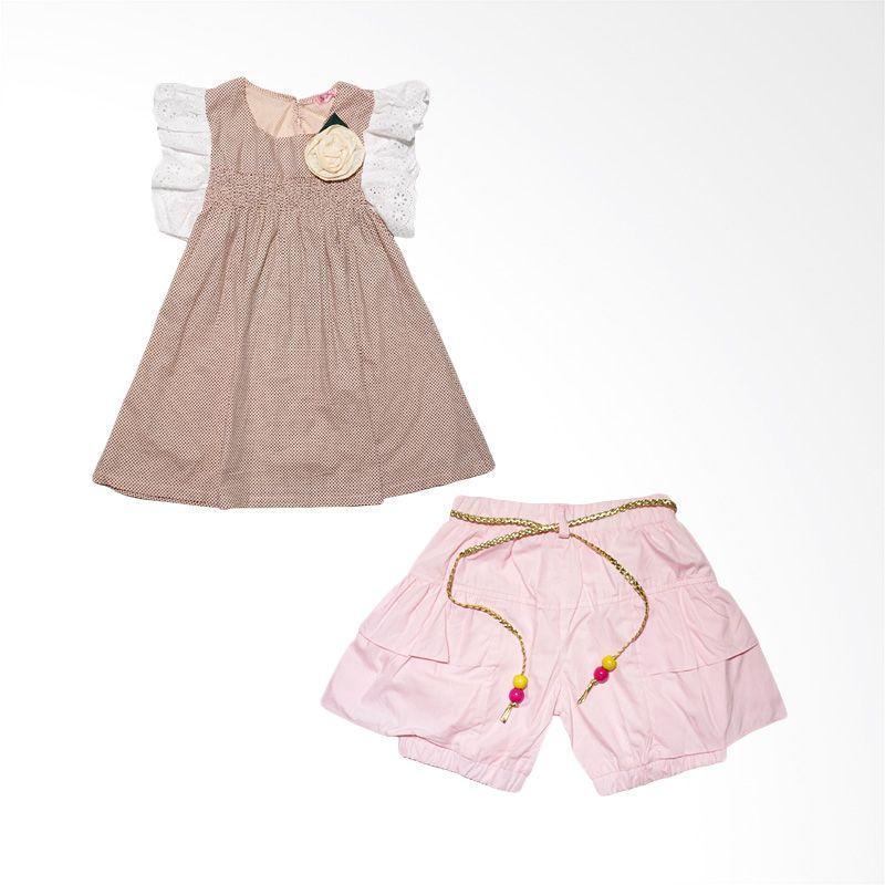 Swallow Speak Fashion Pink Setetelan Anak Perempuan + Bross + Ikat Pinggang