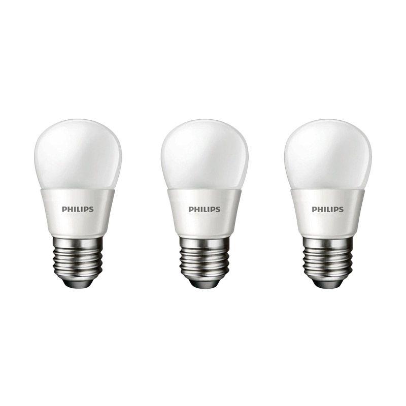 Philips LED Putih Lampu Bohlam [4 W-40 W/ 3 Pcs]