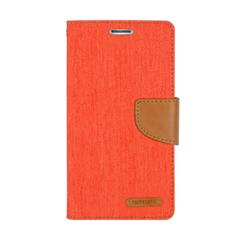 Mercury Goospery Canvas Diary Orange Casing for Galaxy Note 4