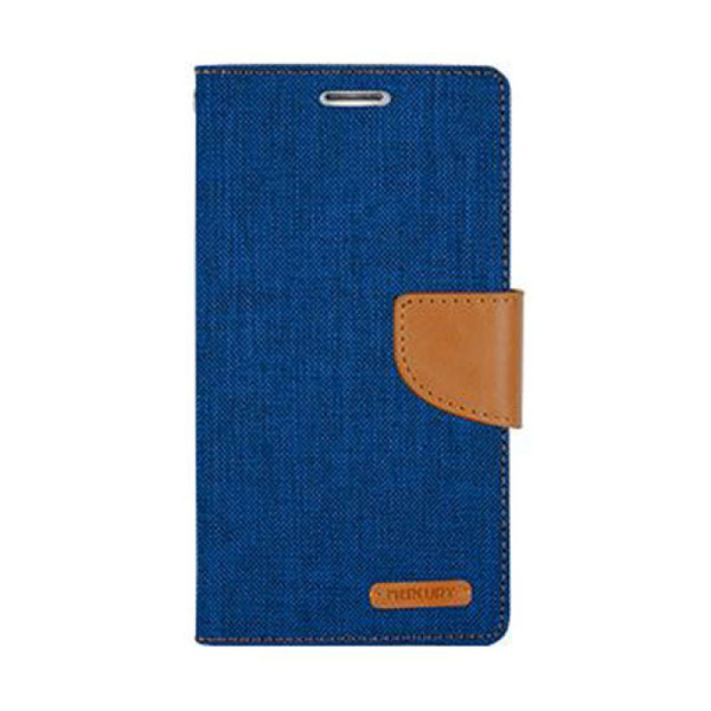 Mercury Goospery Canvas Diary Blue Casing for Galaxy E5