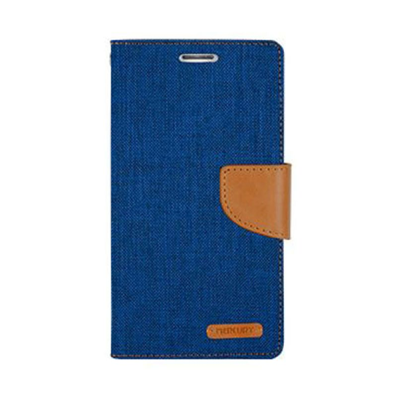 Mercury Goospery Canvas Diary Blue Casing for Galaxy Grand 2