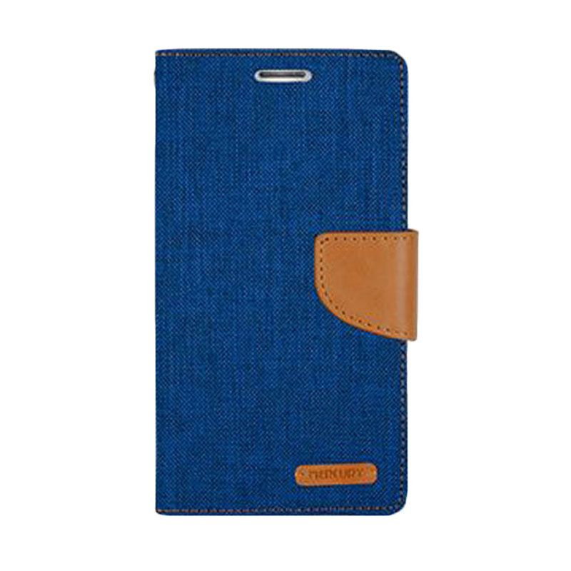Mercury Goospery Canvas Diary Blue Casing for Galaxy Note 4