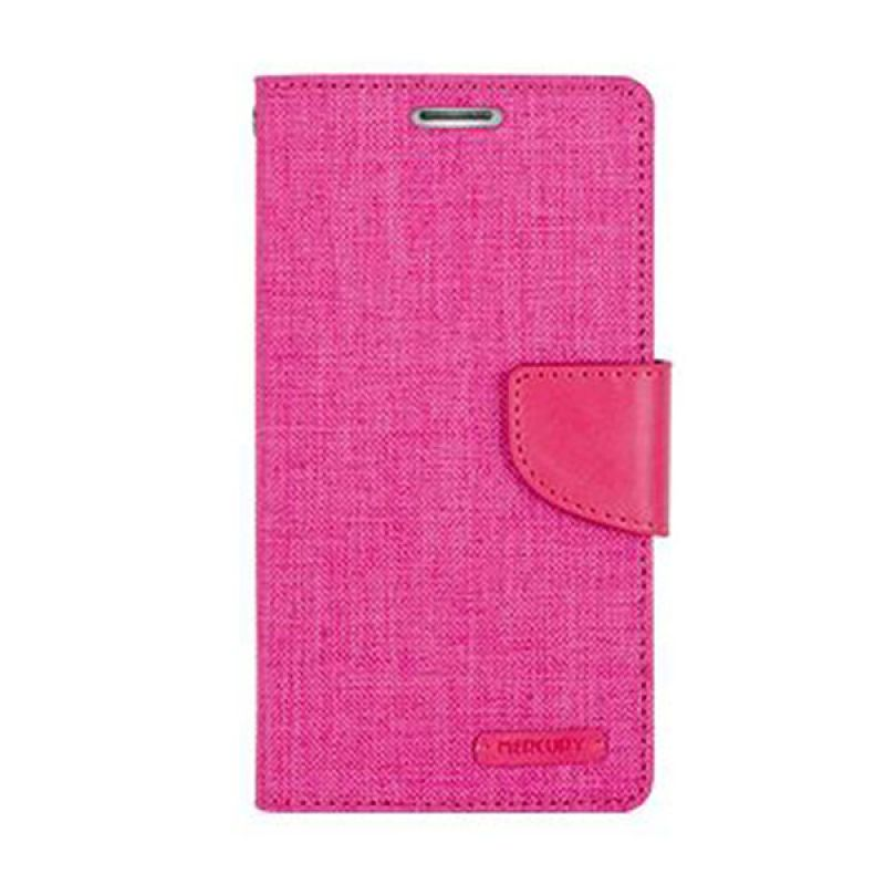 Mercury Goospery Canvas Diary Pink Casing for Galaxy E5