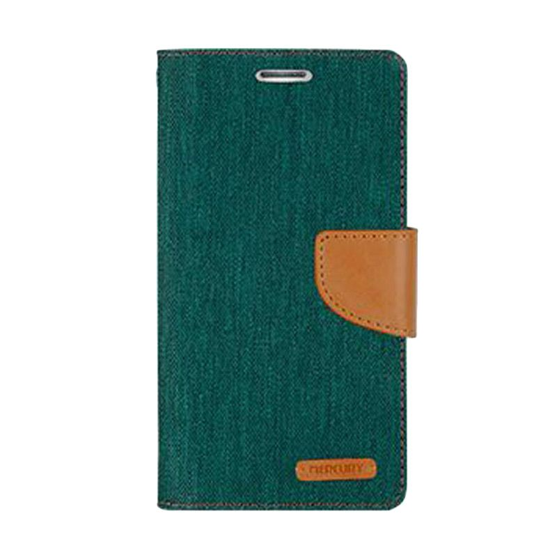 Mercury Goospery Canvas Diary Green Casing for Galaxy A3