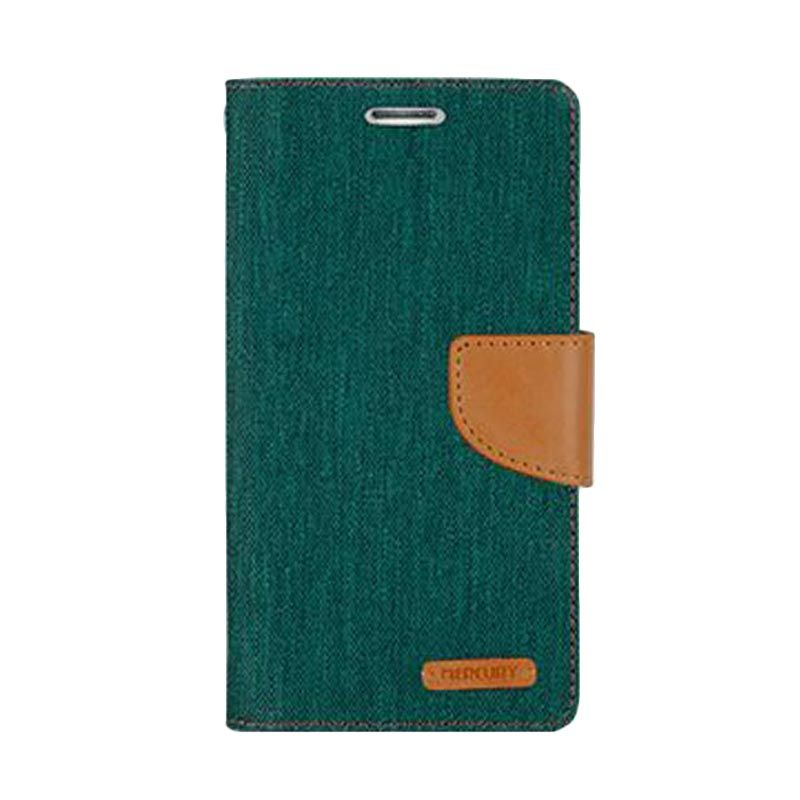 Mercury Goospery Canvas Diary Green Casing for Galaxy A7