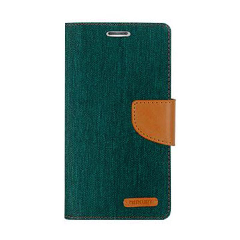 Mercury Goospery Canvas Diary Green Casing for Samsung Galaxy E7