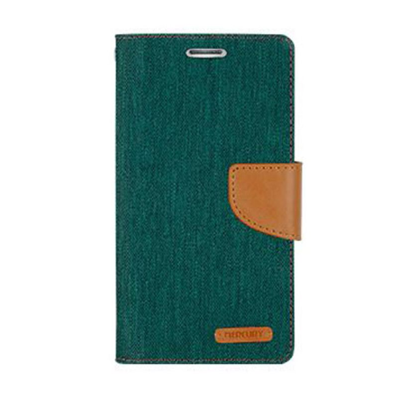 Mercury Goospery Canvas Diary Green Casing for Galaxy J1