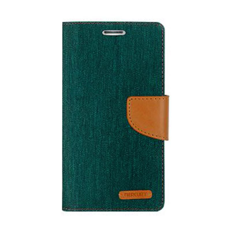Mercury Goospery Canvas Diary Green Casing for Galaxy S6 Edge