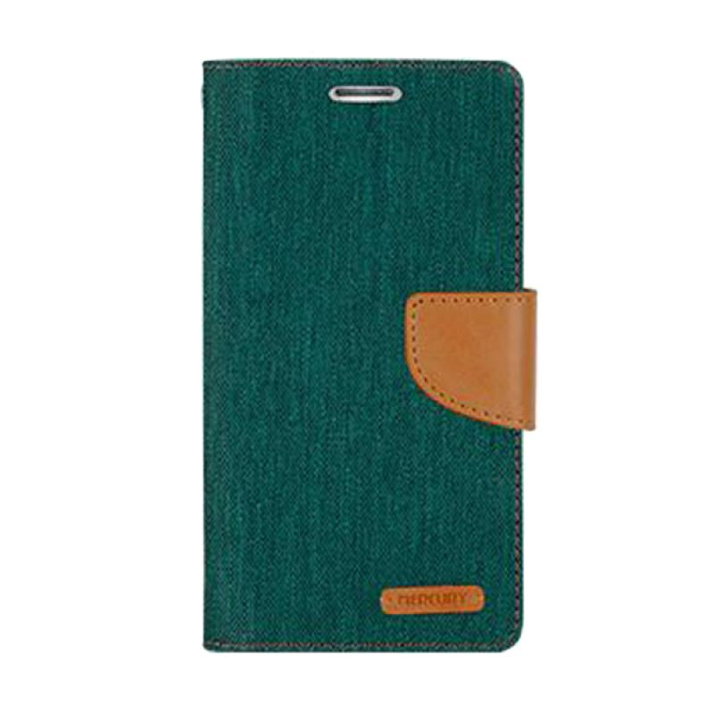 Mercury Goospery Canvas Diary Green Casing for Galaxy S6