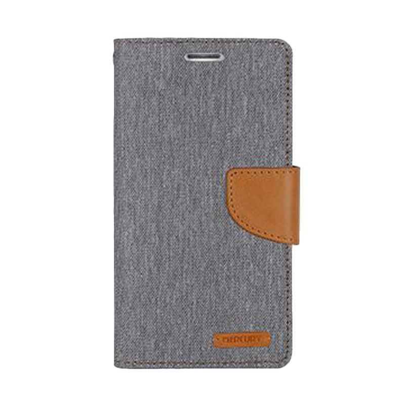Mercury Goospery Canvas Diary Grey Casing for Galaxy A3