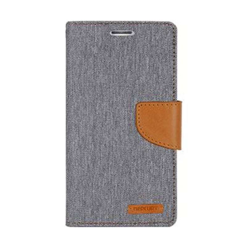Mercury Goospery Canvas Diary Grey Casing for Galaxy A7