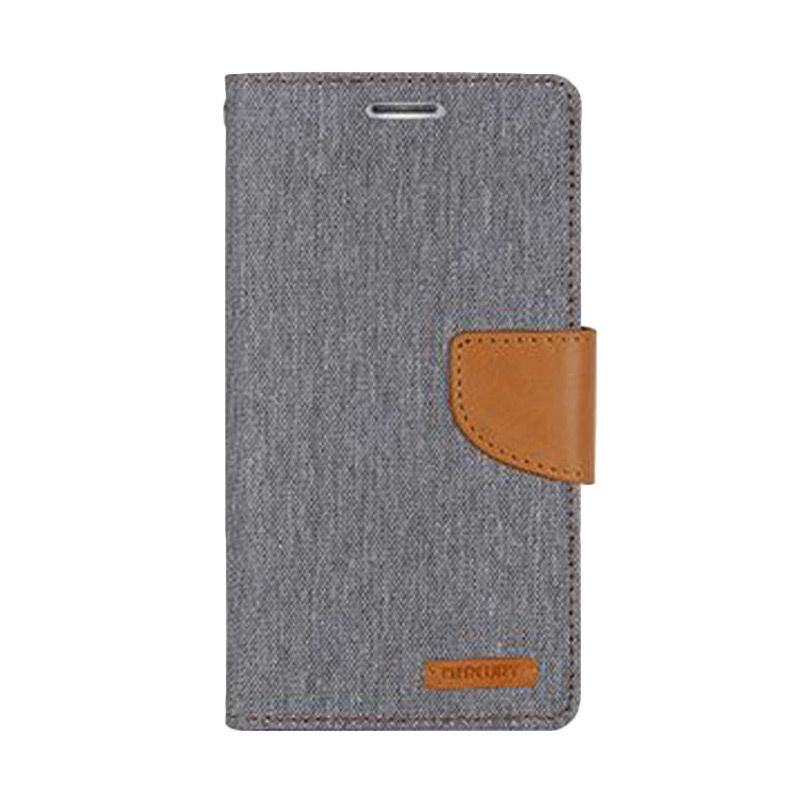 Mercury Goospery Canvas Diary Grey Casing for Galaxy E5