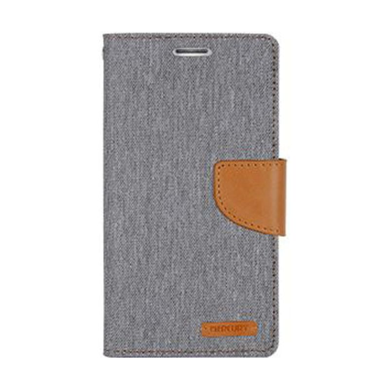 Mercury Goospery Canvas Diary Grey Casing for Galaxy Note 4 Edge
