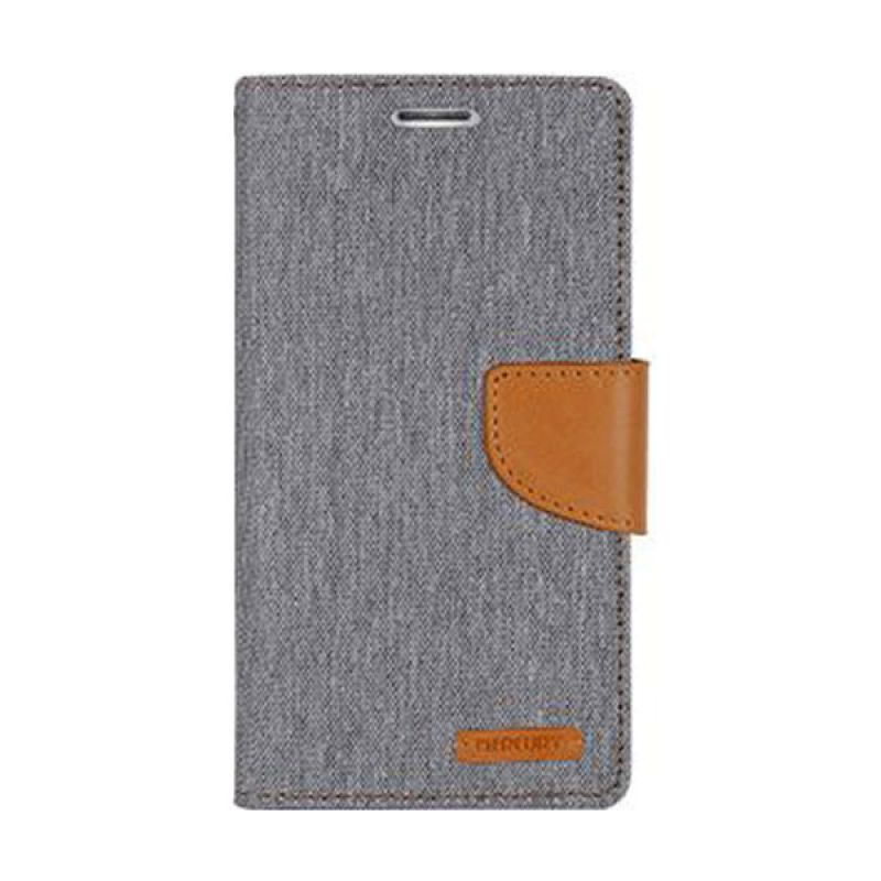 Mercury Goospery Canvas Diary Grey Casing for Galaxy Note 4