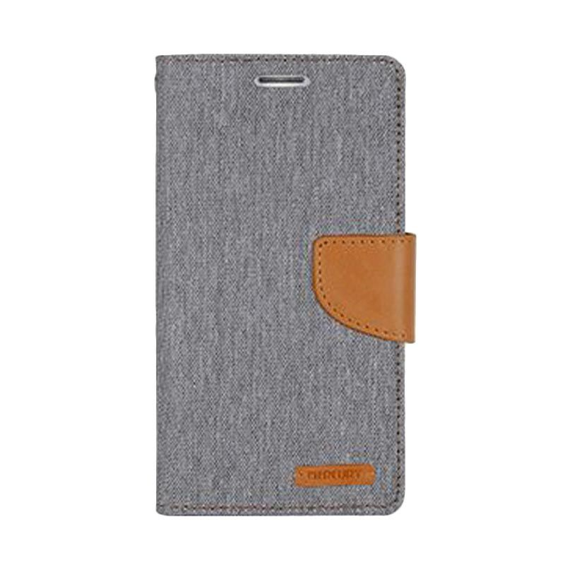 Mercury Goospery Canvas Diary Grey Casing for Galaxy S6
