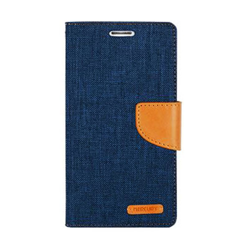 Mercury Goospery Canvas Diary Navy Casing for Galaxy Note 4 Edge