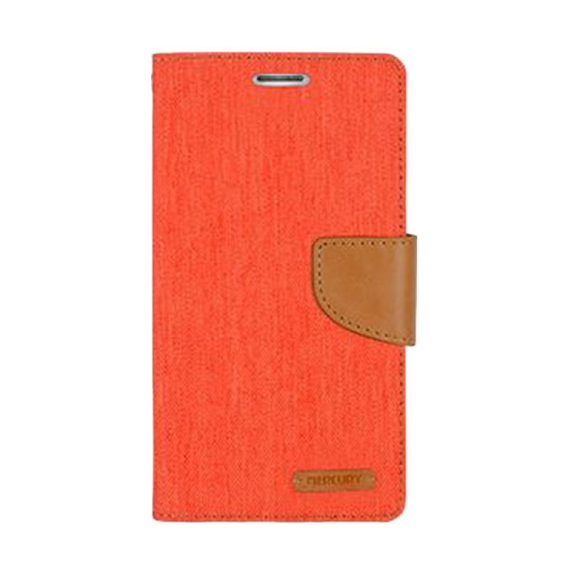 Mercury Goospery Canvas Diary Orange Casing for Galaxy Grand Prime