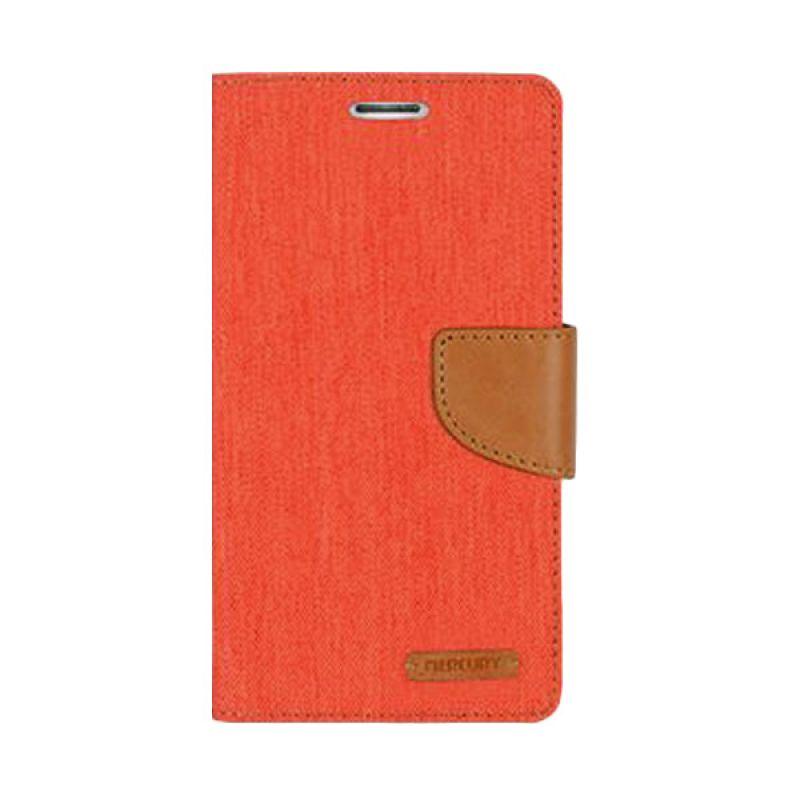 Mercury Goospery Canvas Diary Orange Casing for Galaxy S6 Edge