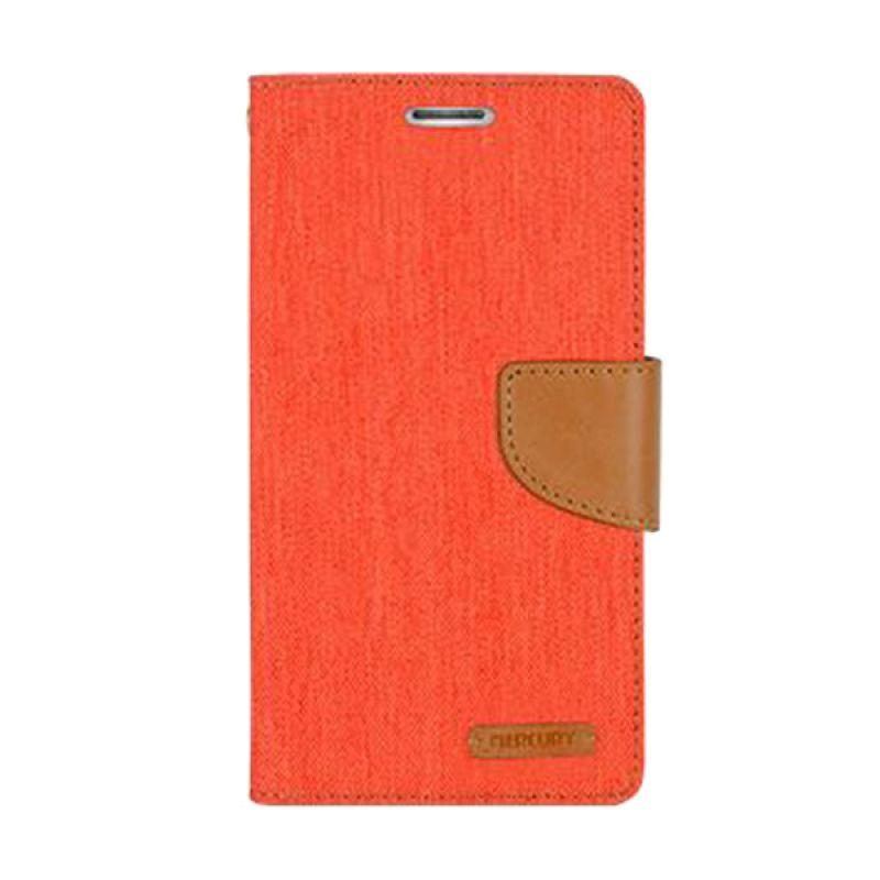 Mercury Goospery Canvas Diary Orange Casing for Galaxy S6