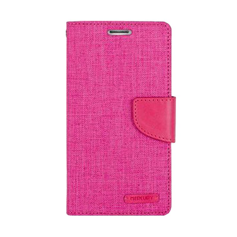 Mercury Goospery Canvas Diary Pink Casing for Galaxy A5