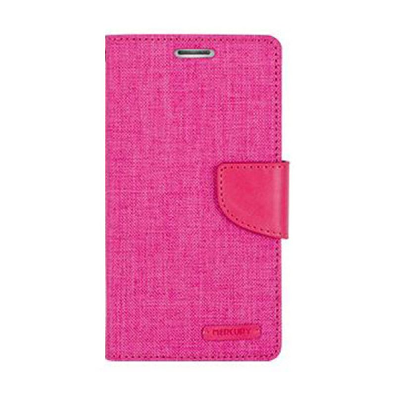 Mercury Goospery Canvas Diary Pink Casing for Galaxy J1