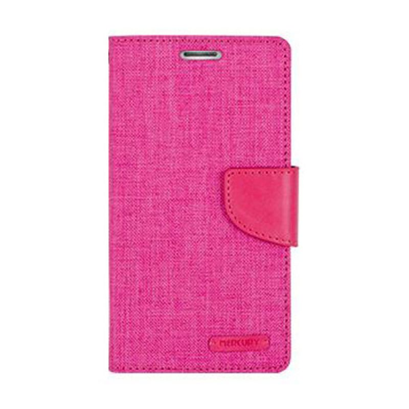 Mercury Goospery Canvas Diary Pink Casing for Galaxy S6 Edge