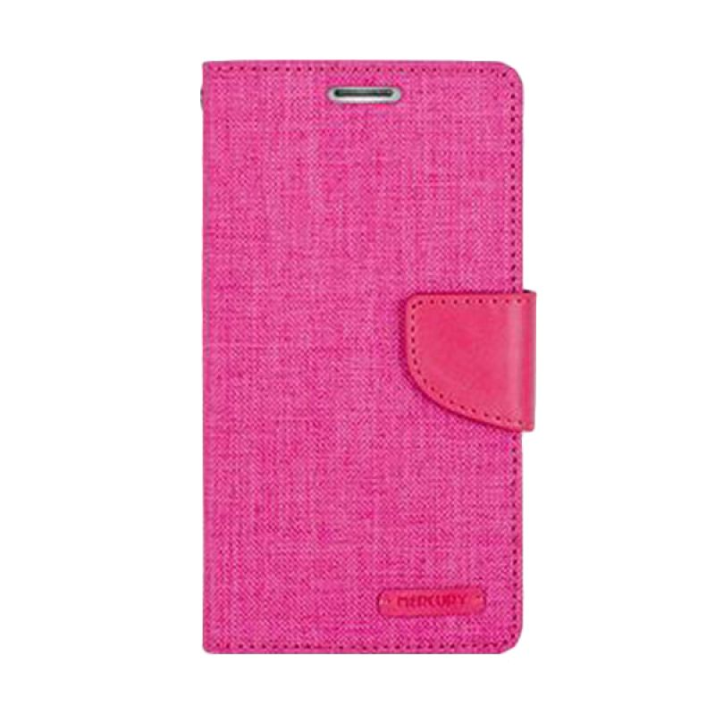 Mercury Goospery Canvas Diary Pink Casing for Galaxy S6