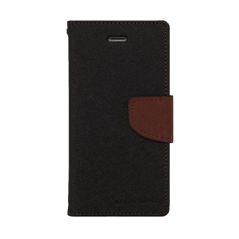 Mercury Goospery Fancy Diary Black Brown Casing for Galaxy Core 2