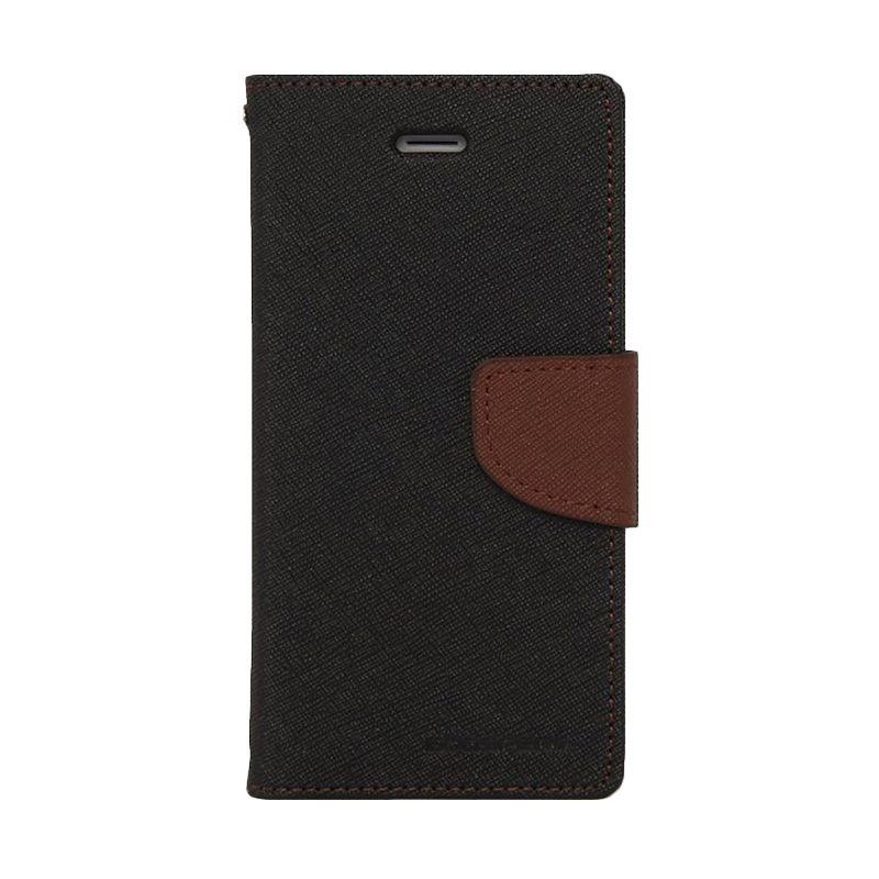 Mercury Goospery Fancy Diary Black Brown Casing for Galaxy S5