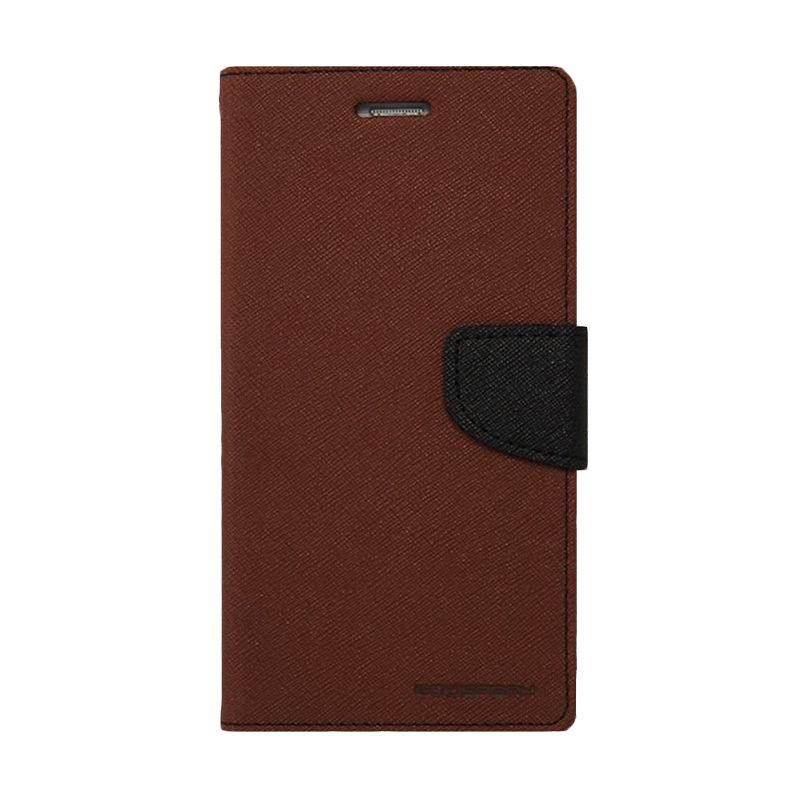 Mercury Goospery Fancy Diary Brown Black Casing for Galaxy Ace 4/ Ace NXT