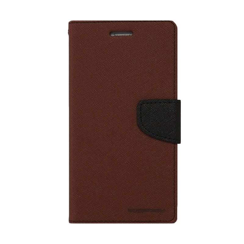 Mercury Goospery Fancy Diary Brown Black Casing for Galaxy Ace 4 or NXT