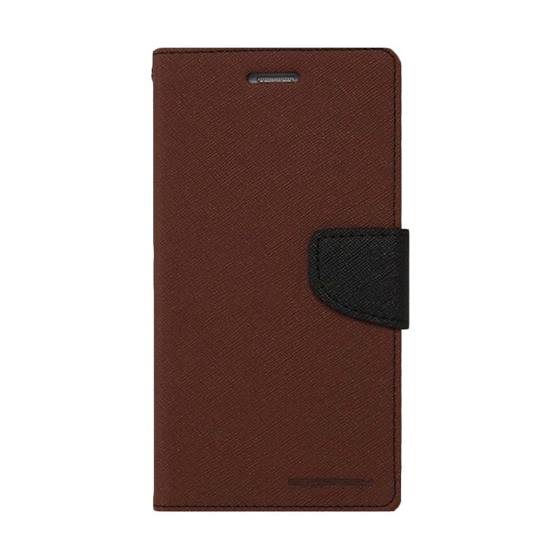 Mercury Goospery Fancy Diary Brown Black Casing for Galaxy Alpha