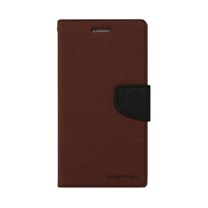 Mercury Goospery Fancy Diary Brown Black Casing for Galaxy Grand1/Grand Neo