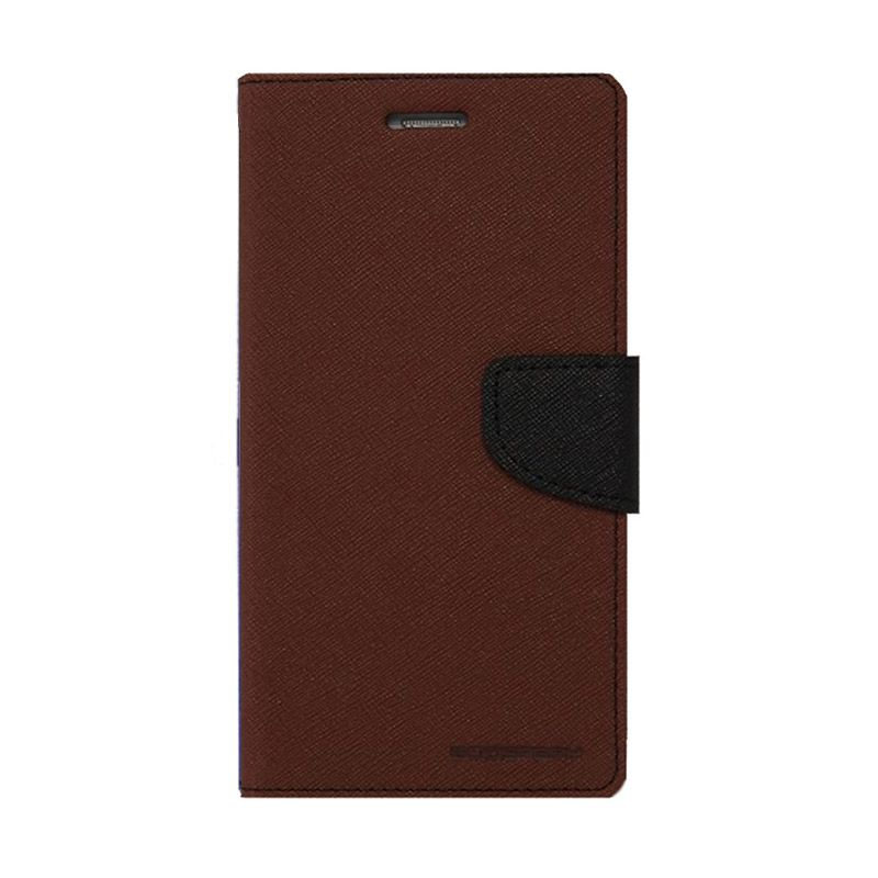 Mercury Goospery Fancy Diary Brown Black Casing for LG Pro Lite
